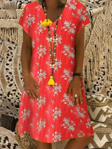 Sheath Casual Short Sleeve V Neck Dresses