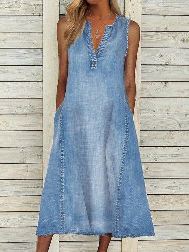 Plain Sleeveless V Neck Casual Dresses