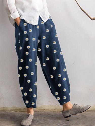 Daisy Floral Print  Elastic Waist Relaxed Harem pants