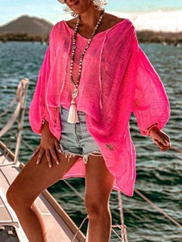 Pink Long Sleeve Shift Cotton-Blend Shirts & Tops