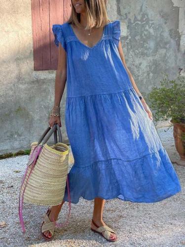 Blue V Neck Short Sleeve Cotton-Blend Casual Dresses