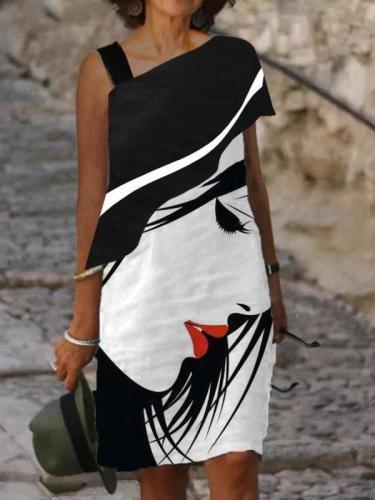 White-Black Single Sleeve Abstract Shift Dresses