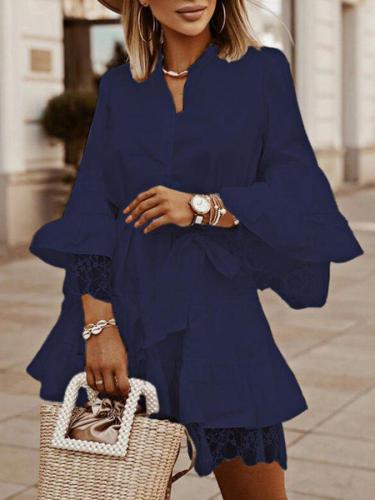 3/4 Sleeve Plain Vintage V Neck Dresses