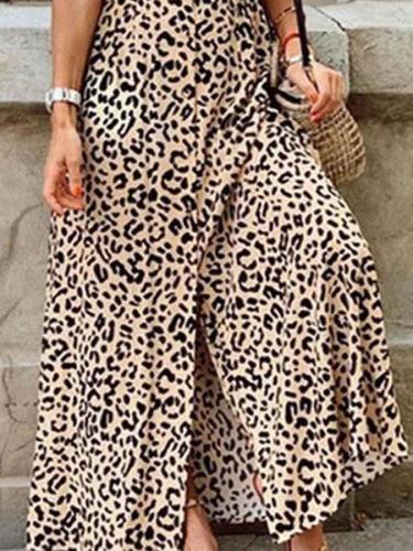 Khaki Short Sleeve V Neck Vintage Dresses
