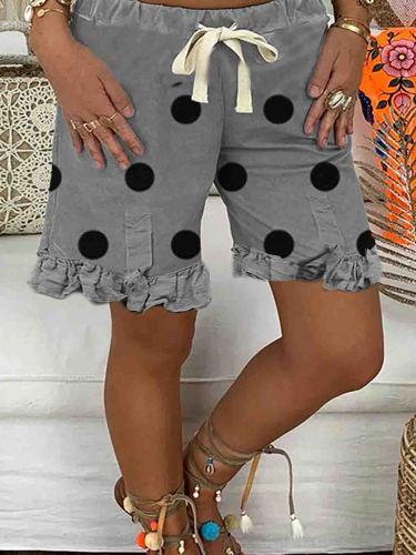 Gray Polka Dots Shift Cotton Casual Pants
