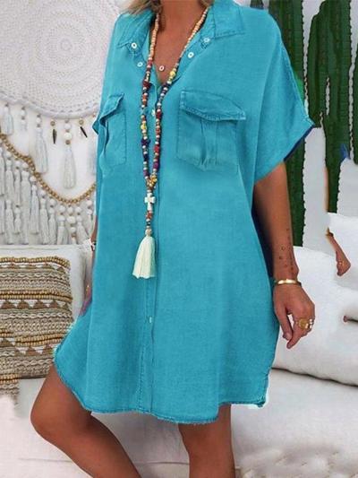 Blue Cotton Casual Dresses