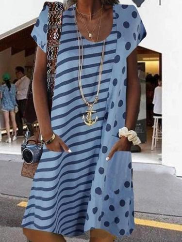 Short Sleeve Shift U-Neck Casual Dresses