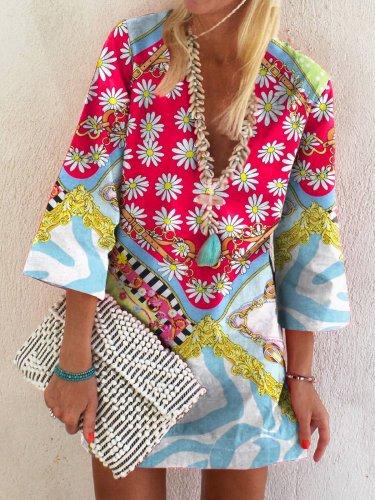 Holiday Cotton-Blend V Neck Shift Dresses