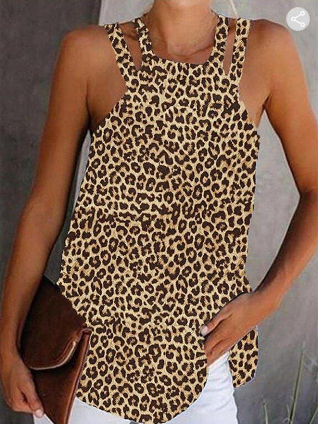 Leopard Casual Cotton-Blend Spaghetti Shift Shirts & Tops