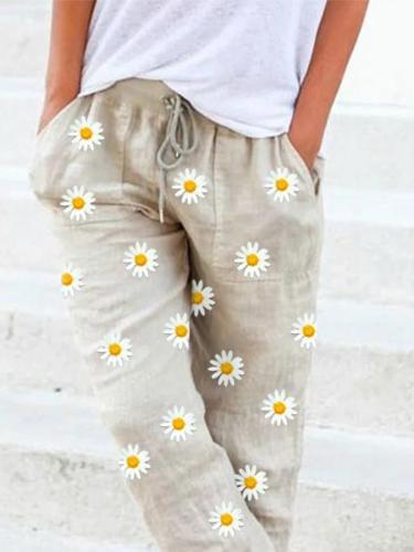 Beige Shift Floral Casual Linen Pants