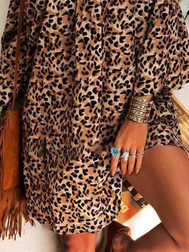 Khaki Leopard Print Casual Sleeveless Shift Dresses
