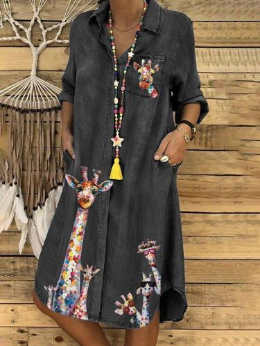 Shirt Collar Long Sleeve Printed Dresses