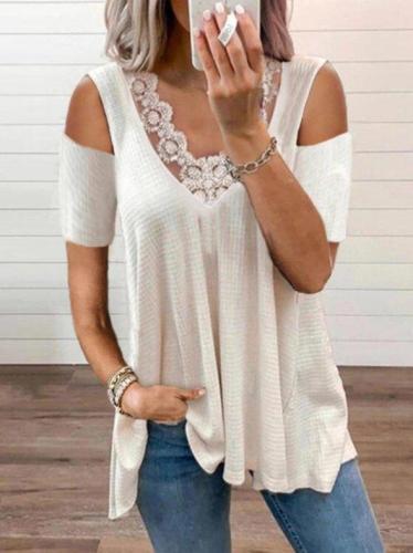 White Short Sleeve V Neck Shift Plain Shirts & Tops