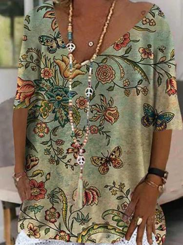 Casual Cotton-blend V Neck Printed Short Sleeve Tops