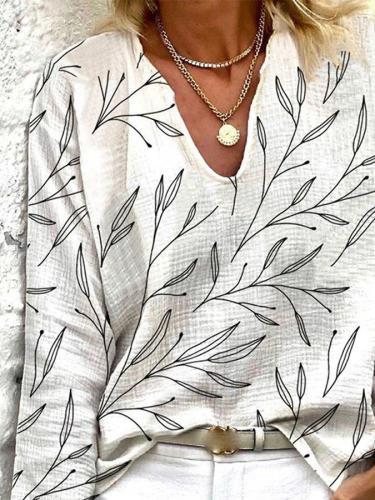 White Casual Linen Printed V Neck Tops