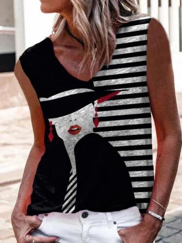 Black Abstract V Neck Sleeveless Printed Shirts & Tops
