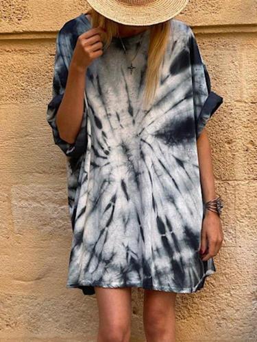 White-Blue Casual Half Sleeve Dresses