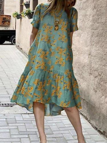 Lightgreen Short Sleeve Crew Neck Cotton-Blend Swing Dresses