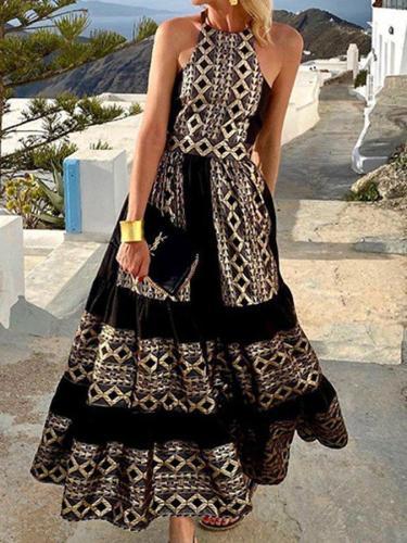 Black Swing Spaghetti Sleeveless Tribal Dresses