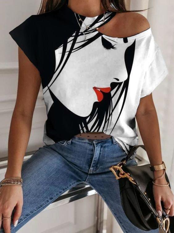 White-Black Printed Abstract Casual Shirts & Tops