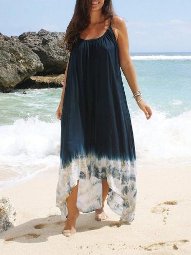 Navy Blue Ombre/tie-Dye Spaghetti Sleeveless Dresses