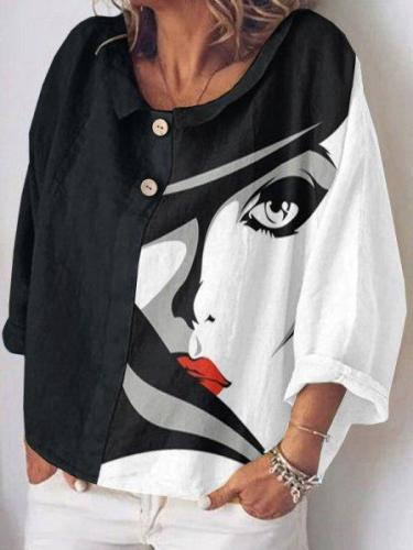 White-Black Long Sleeve Abstract Shawl Collar Statement Shirts & Tops