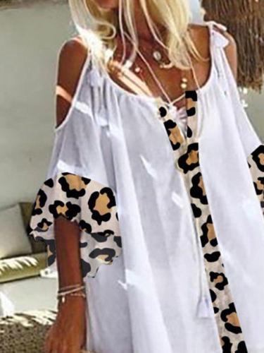Casual Cotton-Blend Leopard Print Short Sleeve Dresses