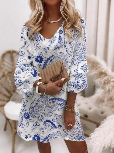 White-Blue A-Line Vintage Cotton-Blend Skater Dresses