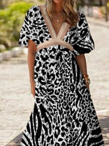 Casual Colorblock Printed Short Sleeve V Neck Holiday Dresses