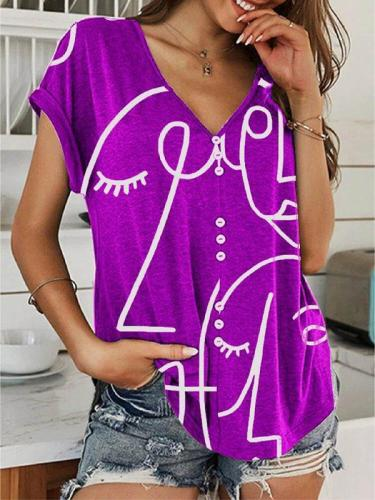 Casual Short Sleeve V Neck Abstract Shirts & Tops