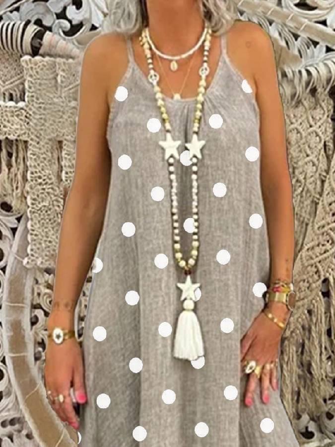 Cotton-Blend Polka Dots Sleeveless Casual Dresses