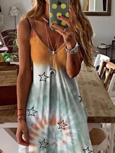 Lightgreen Swing Casual Sleeveless Abstract Dresses