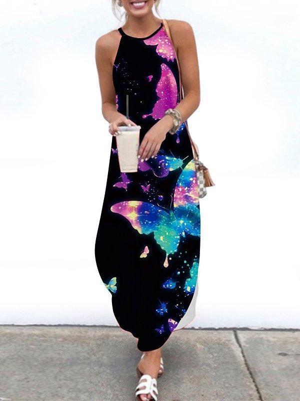 Shift Holiday Abstract Halter Dresses