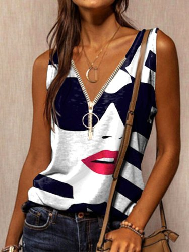 Cotton-Blend Abstract Casual Vests