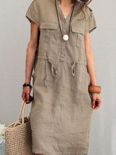 Brown Short Sleeve Vintage Dresses
