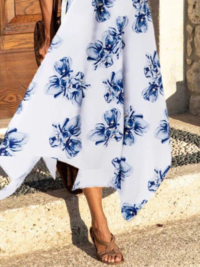 White-Blue Floral Swing Sleeveless Printed Dresses