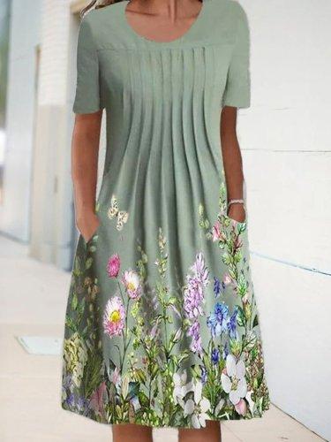 Floral A-Line Short Sleeve Crew Neck Dresses