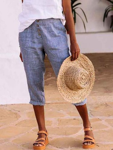 Casual Solid Color Cotton-blend Linen Cropped Trousers