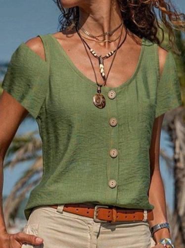 Cold shoulder Casual Shift Cotton-Blend Short Sleeve Shirts & Tops