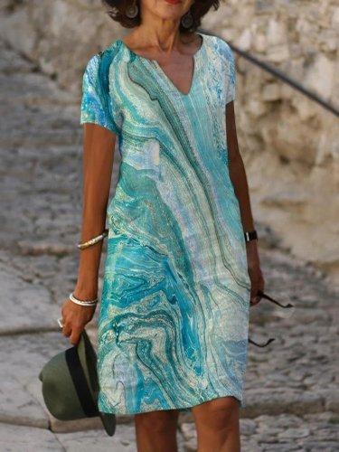 Vintage Cotton V Neck Short Sleeve Dresses
