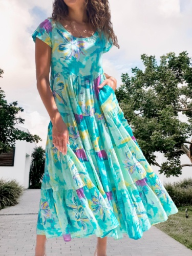 Floral Short Sleeve A-Line Casual Dresses