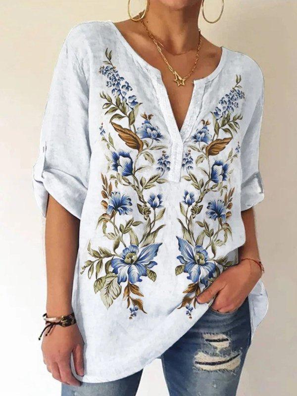 White Plant Long Sleeve Printed Shift Shirts & Tops