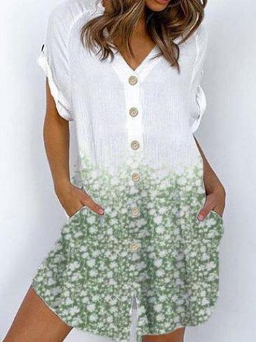 Green Short Sleeve Cotton Floral-Print Floral Dresses