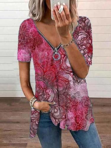 Printed Short Sleeve Casual V Neck Shirts & Tops