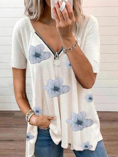 Casual V Neck Floral Short Sleeve Tops
