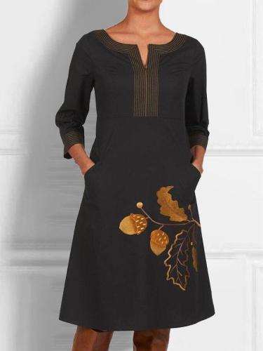 Black Printed A-Line V Neck Casual Dresses