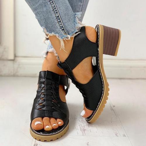 Women Summer Low Heel Daily Zipper Sandals