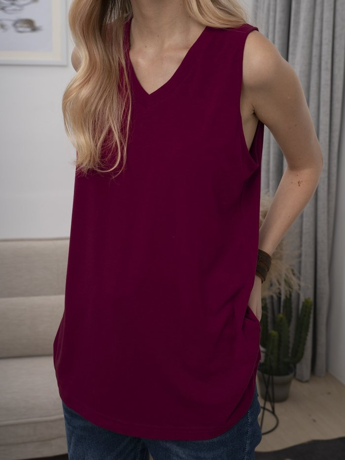 Solid Casual Sleeveless Cotton-Blend Shirts & Tops