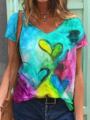 Love Print Casual Short Sleeve Shirts & Tops