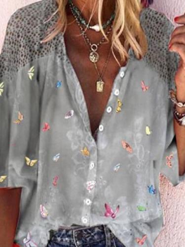 Shirt Collar Floral 3/4 Sleeve Blouse
